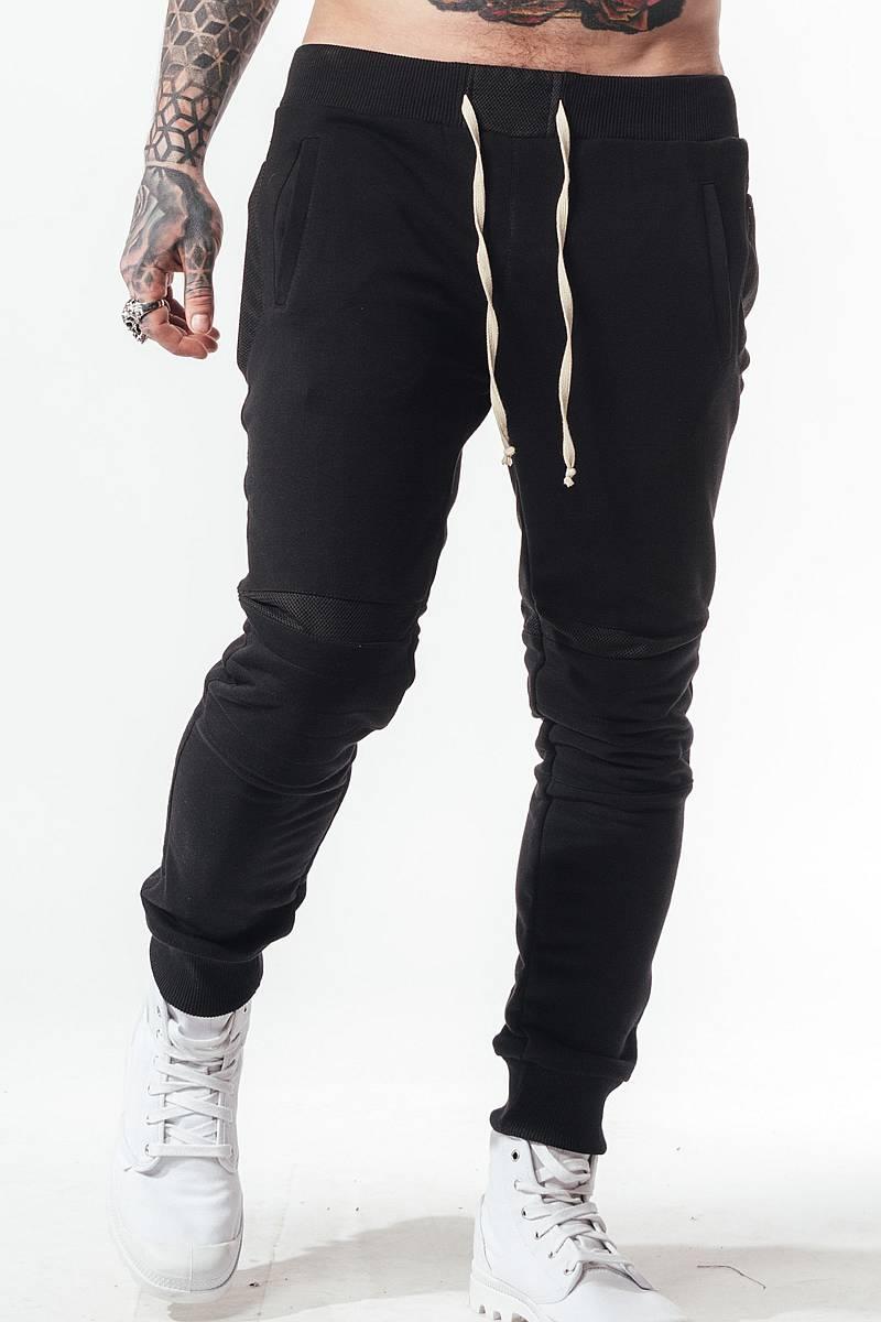 спортивные штаны трико черные мужские зауженные SB БМ-5022 на резинке внизу со вставками