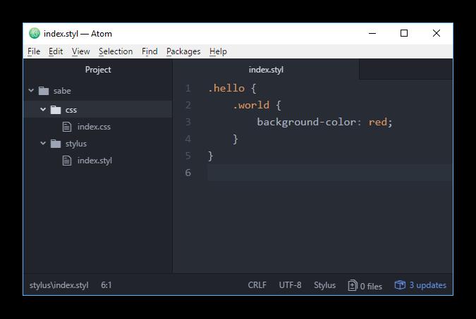 Пример вложения классов в Stylus