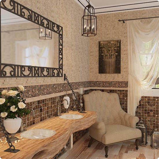 Стиль рустик в маленькой ванной комнате
