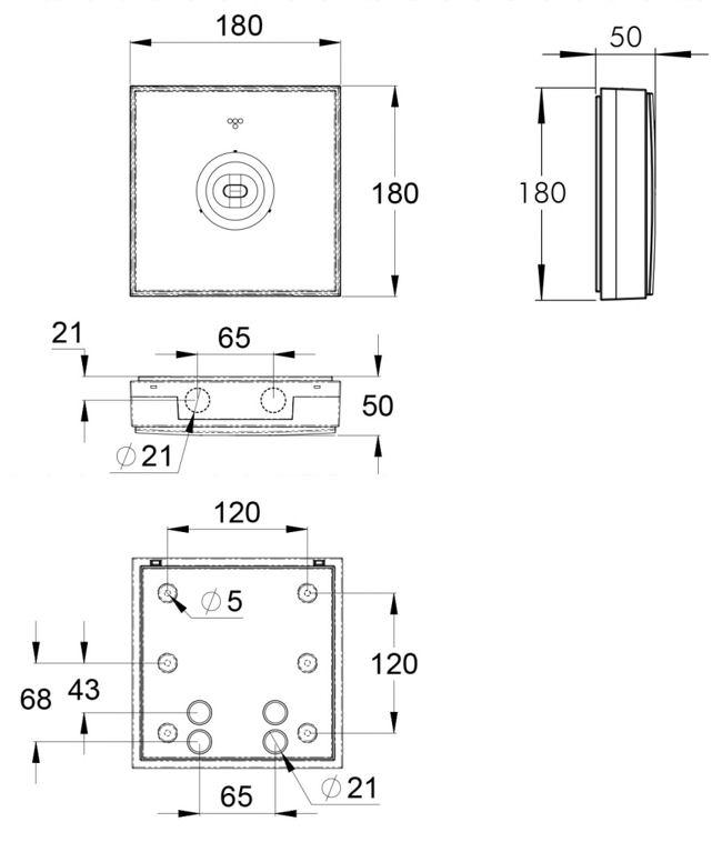 Монтажные размеры для аварийного светильника IP44 LINESPOT II