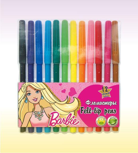 Фломастеры 12 цветов - набор Barbie