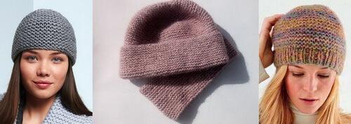 Платочная вязка - шапки Бини