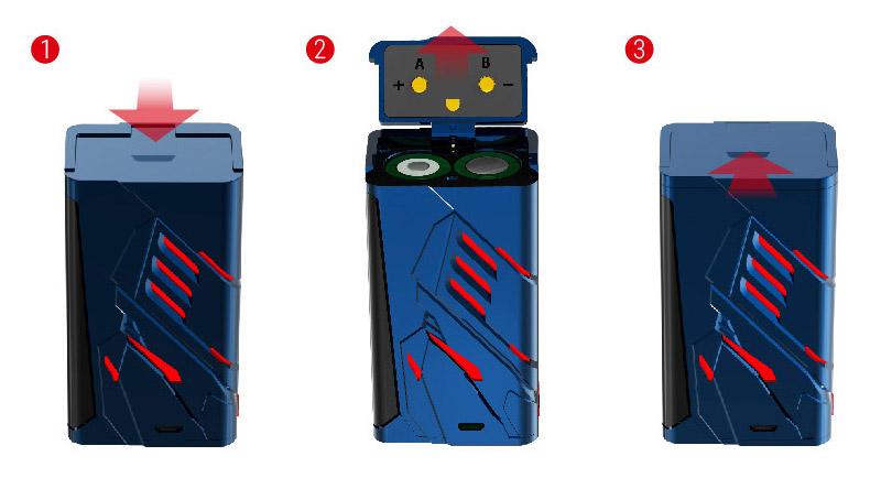 Боксмод T-Priv питается от двух 18650 батареек