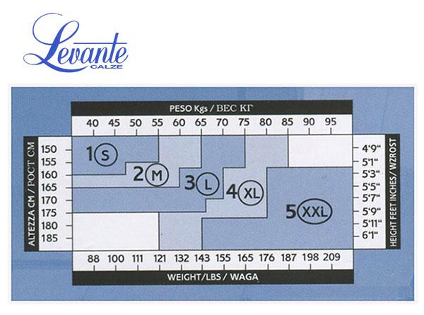 Таблица размеров колготок Levante