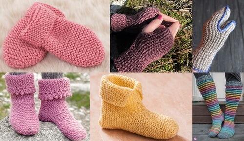 Платочная вязка - варежки, носки