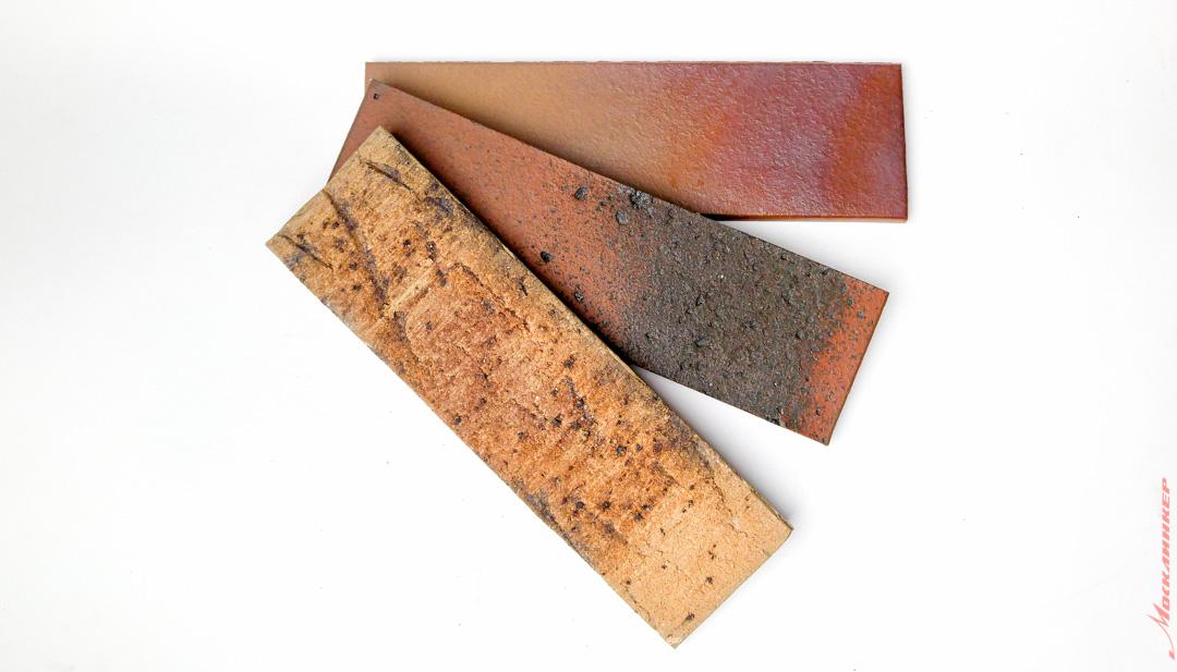 Пестрая клинкерная плитка с подпалами и шероховатой поверхностью