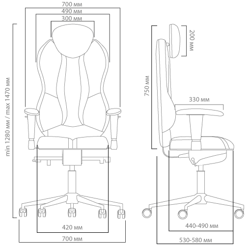 Габариты кресла KULIK SYSTEM GRAND