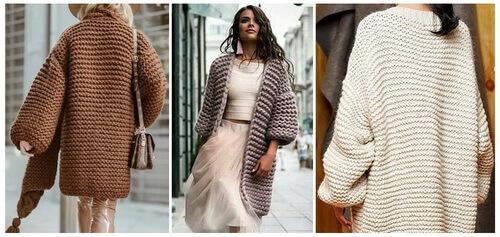 Платочная вязка - кардиганы и пальто