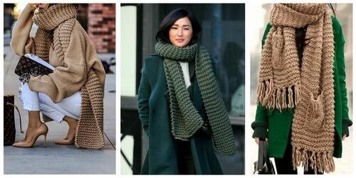 Платочная вязка - шарфы и снуды