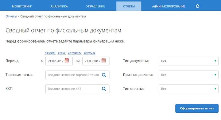 Сводный отчет по фискальным документам на портале ОФД