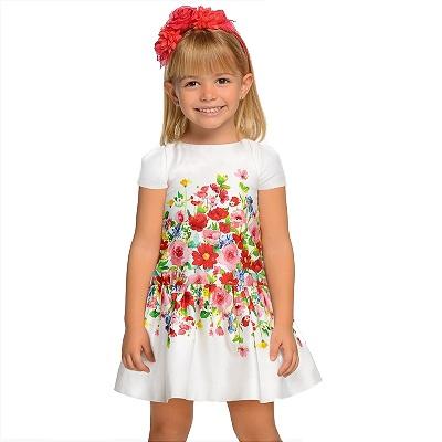 Одежда Mayoral Весна-Лето 2019, платье белое с цветами