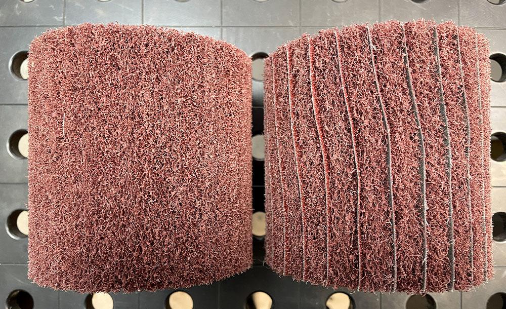 На комбинированном валике ламели вставлены на всю ширину