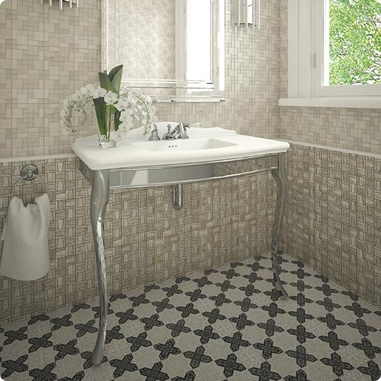 Мозаика из мрамора на полу в ванной комнате