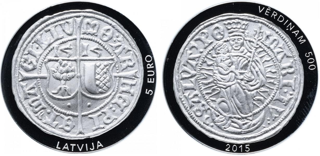 5 евро 500 лет ливонскому фердингу 2015