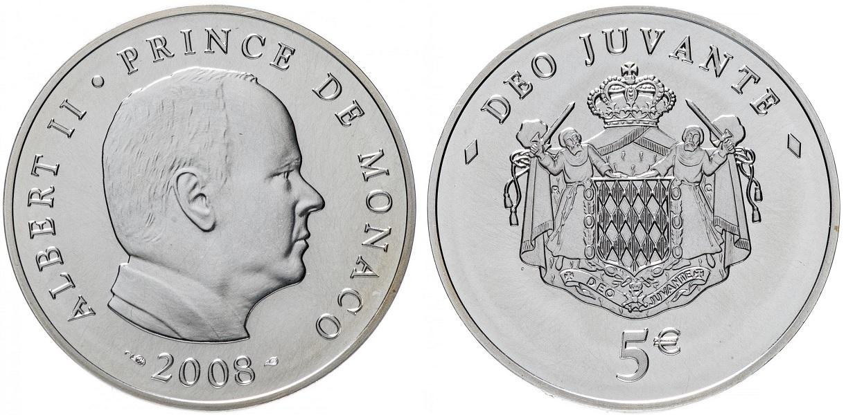 5 евро Принц Альберт II 2008