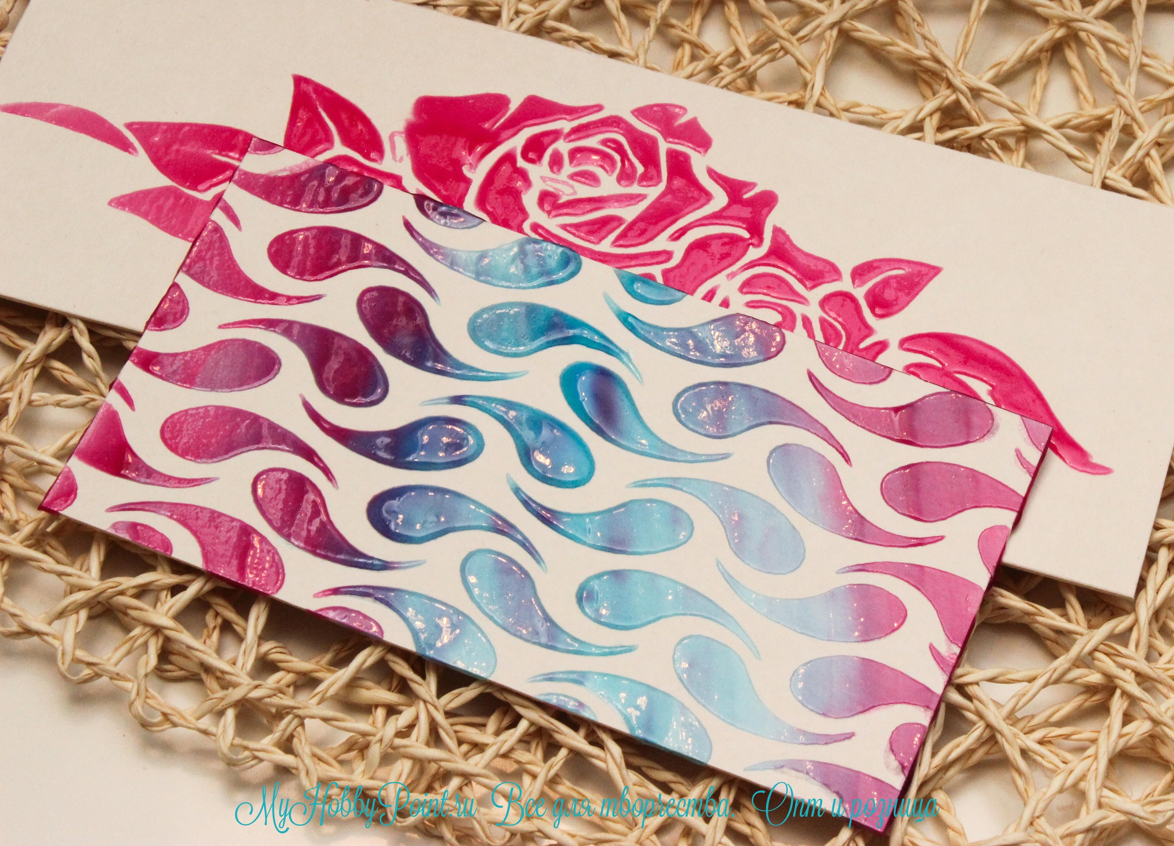 цветная паста, имеющая гелевую текстуру, при высыхании образует полупрозрачное глянцевое покрытие. Деко-гель отличается от других паст тем, что после высыхания он сохраняет свой объем, рисунок четкий, а его поверхность имеет стильный глянцевый блеск.
