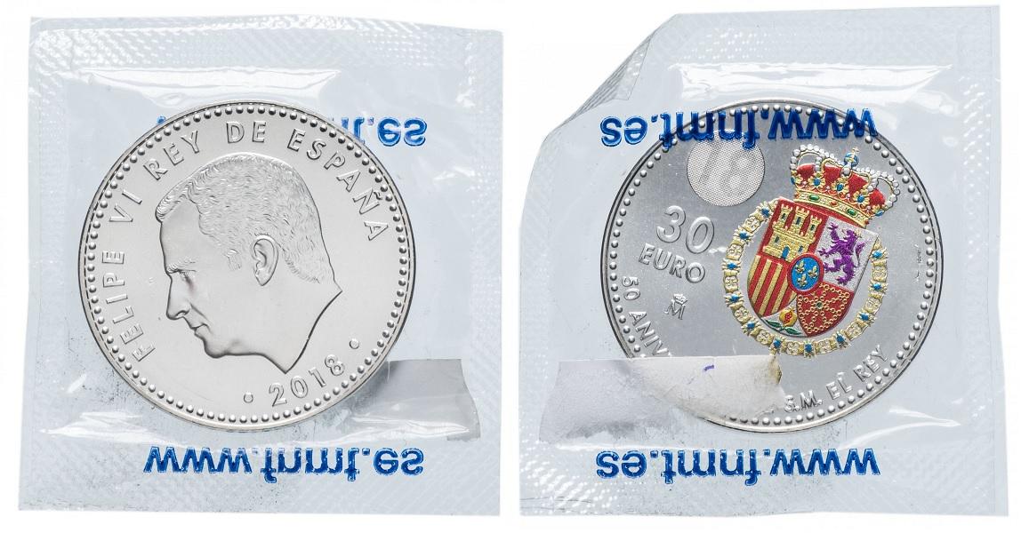 30 евро Король Филипп IV в запайке 2018
