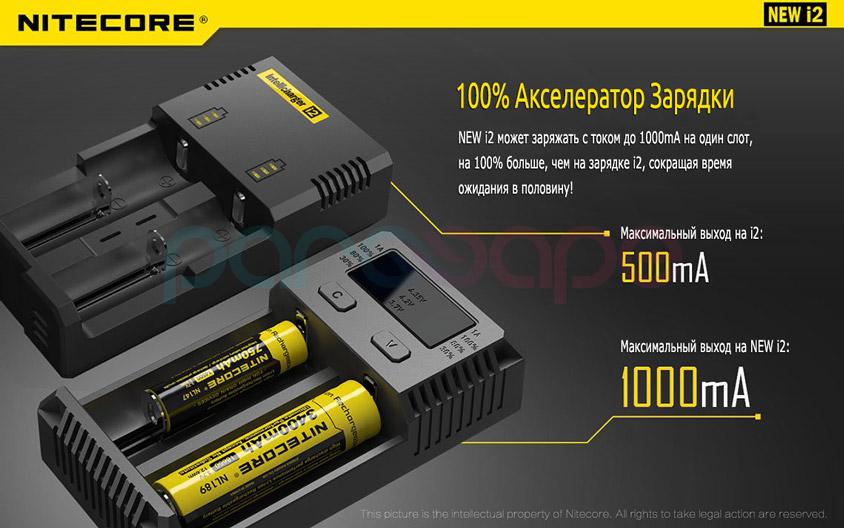NEW i2 может заряжать с током до 1000mA на один слот, на 100% больше, чем на зарядке i2, сокращая время ожидания в половину!