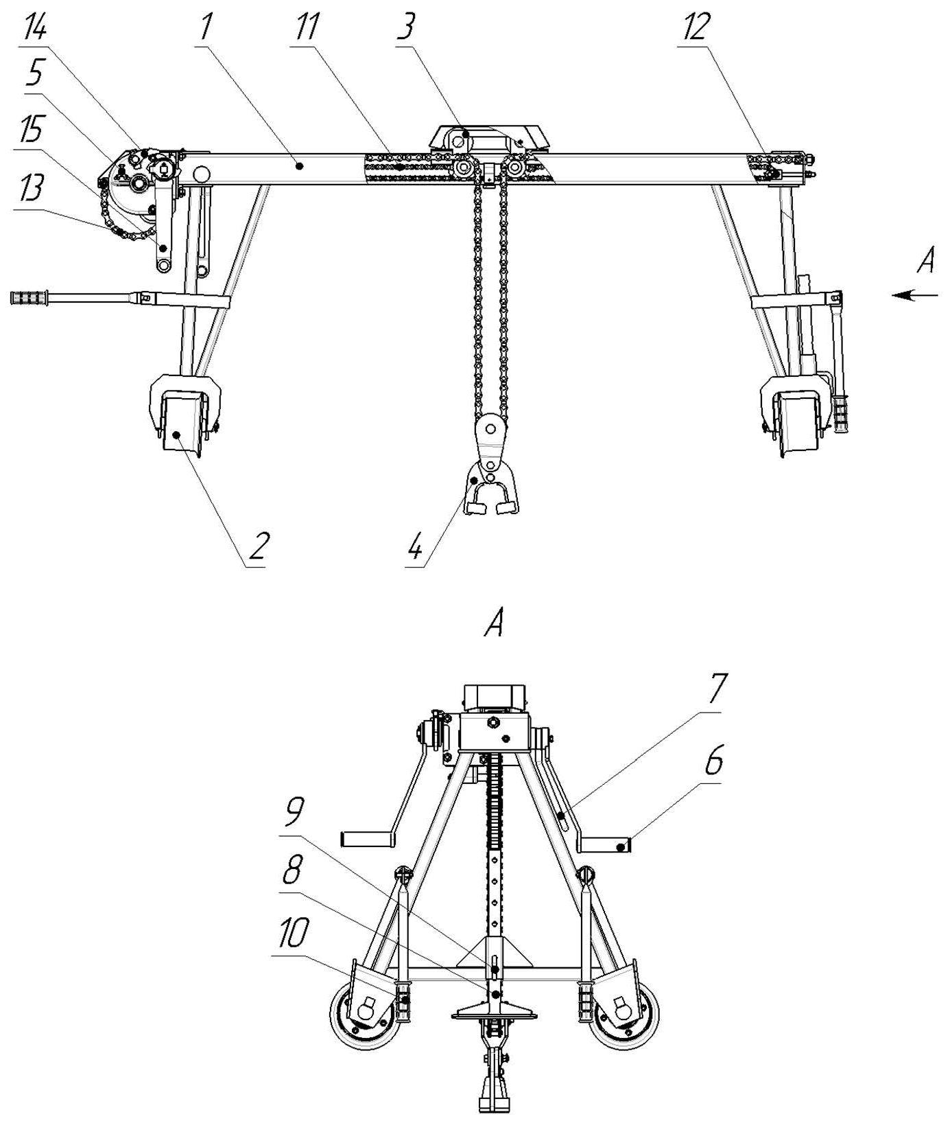 Схема крана козлового ручного КР2