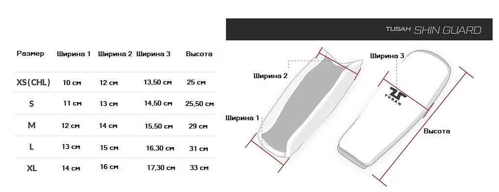 Защита ног Tusah. Таблица размеров.
