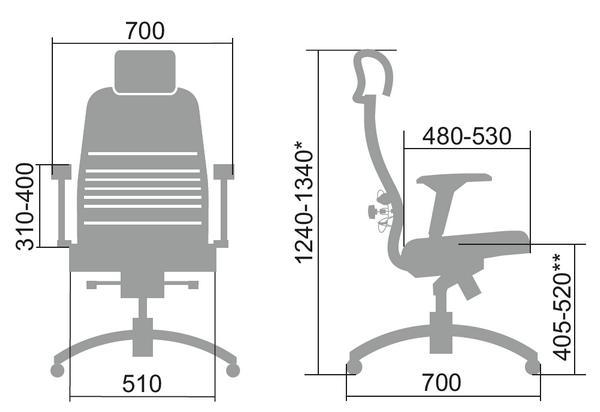 Размеры кресла Samurai S-3.04