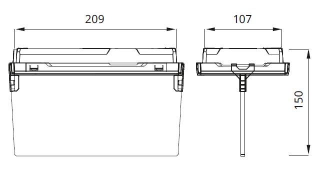Размеры аварийного светового указателя EXIT S с эвакуационным табло