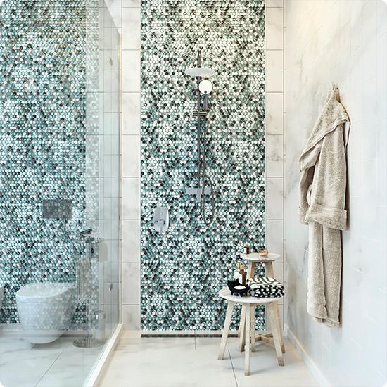 Изумрудные оттенки в дизайне ванной комнаты
