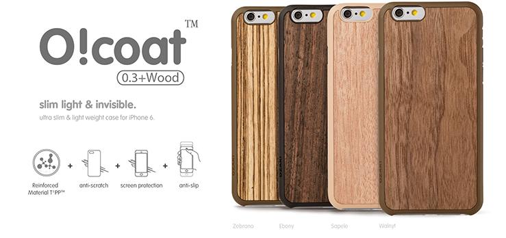 Оригинальнаянакладка сотделкойиз натурального, шлифованного дерева Ozaki O!coat 0.3+ Wood для iPhone 6 / 6S.