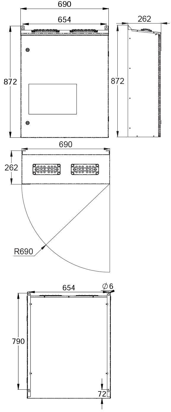 Монтажные размеры адресного блока с открывающейся передней дверцей системы аварийного централизованного освещения TKT66CP Teknoware