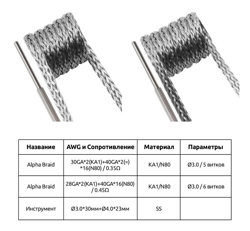 Спецификация Набора Спиралей GeekVape Hybrid Alpha Braid 0.35ом 4шт + 0.45ом 4шт