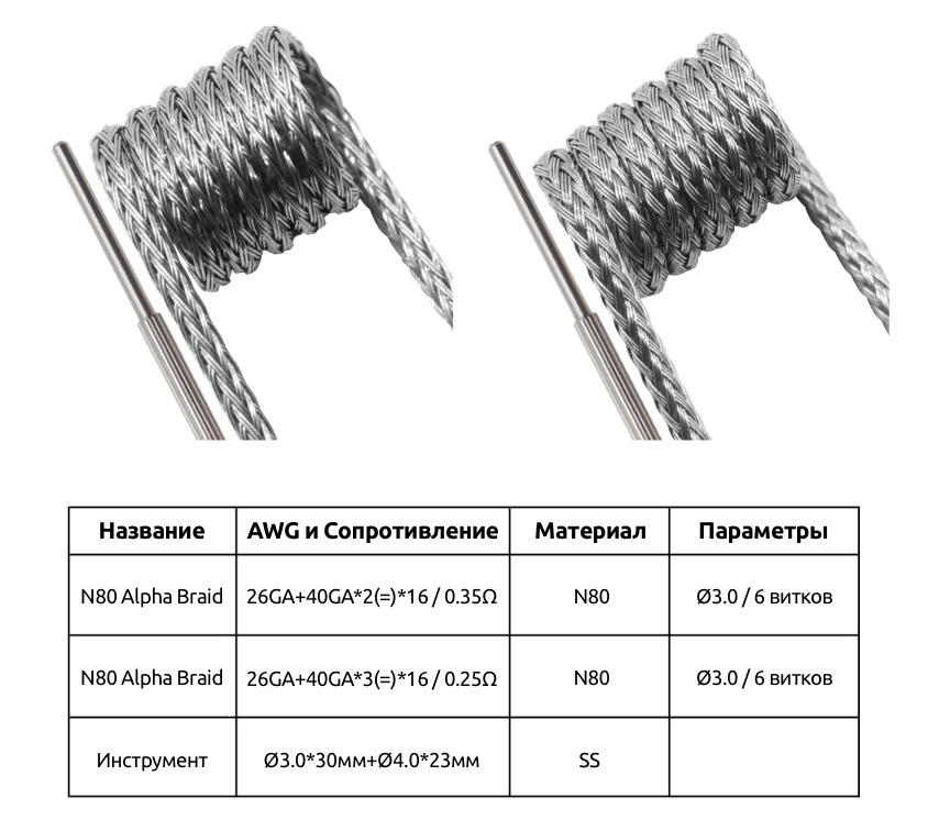 Набор Спиралей Спецификация GeekVape N80 Alpha Braid 0.35ом 4шт + 0.25ом 4шт