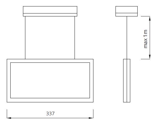 Размер подвесного аварийного светильника выход IP44 Infinity II AR Awex