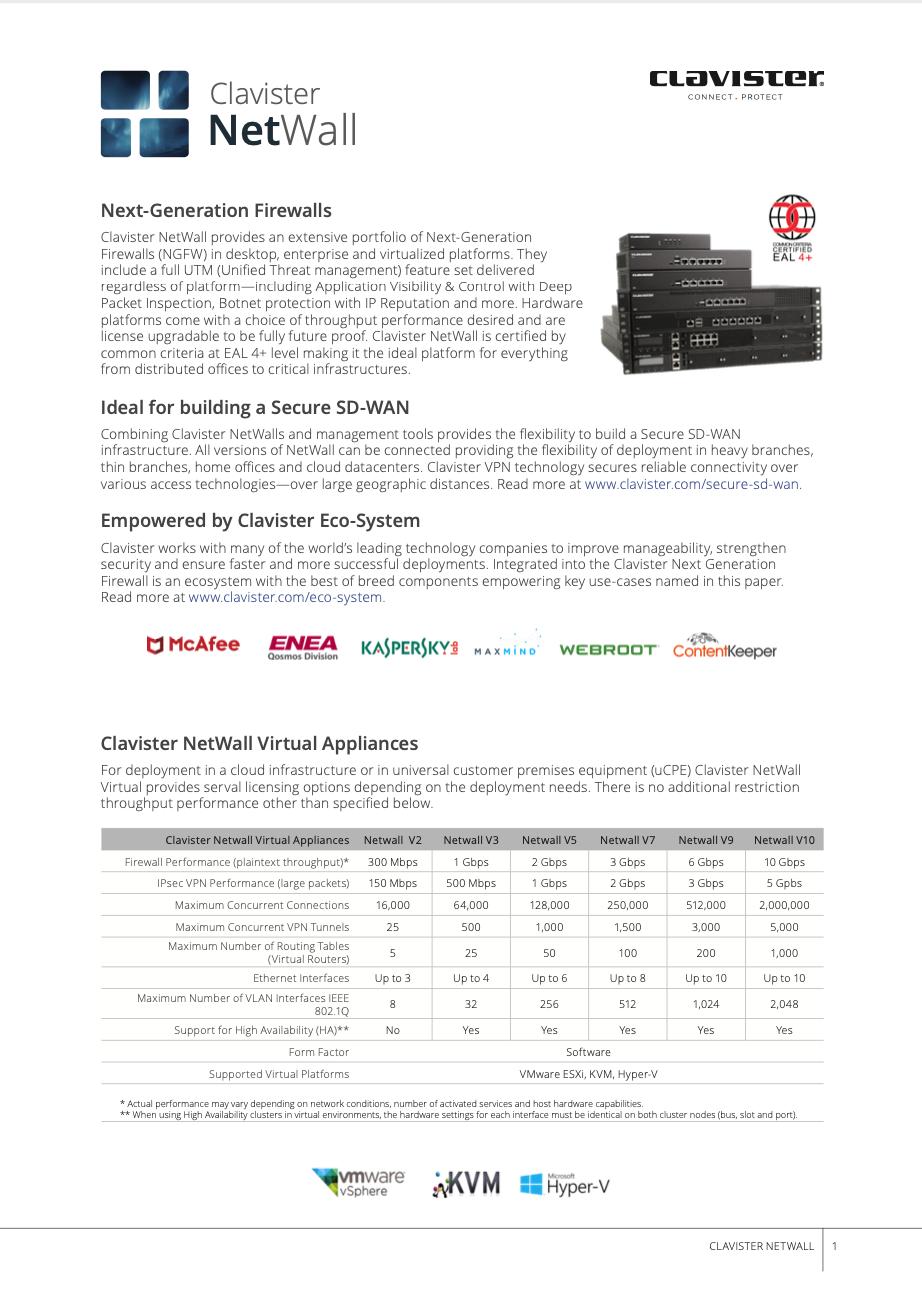 Clavister NetWall datasheet