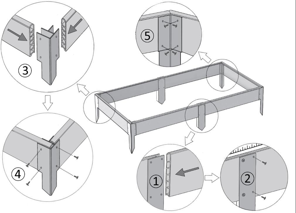 Схема соединения элементов грядки