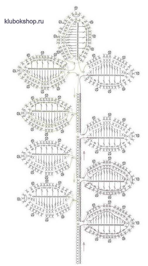 Схема вязания листьев на ветке
