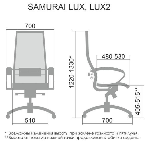 Размеры кресла Samurai Lux 2