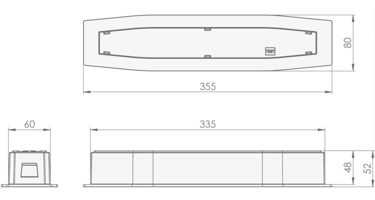 Размеры встраиваемого светодиодного аварийного светильника Suprema LED SO PT