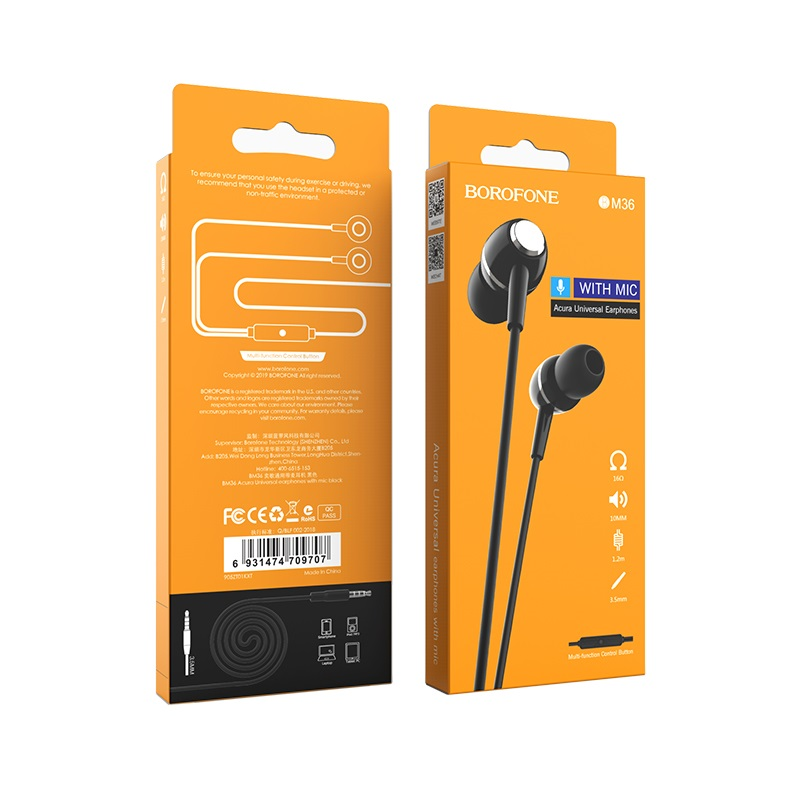 borofone bm36 acura universal earphones with mic package front back