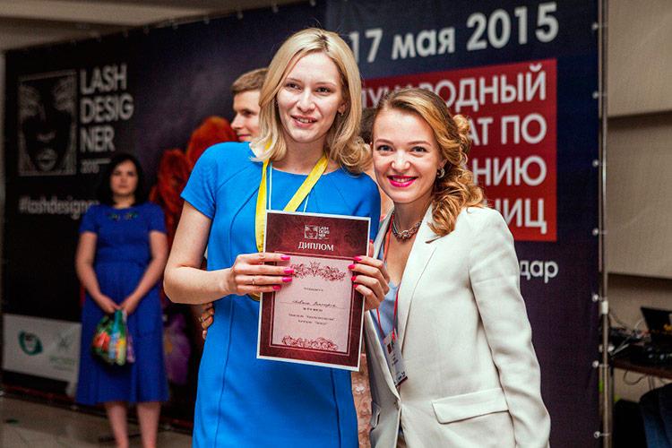 Виктория Довжик и Леся Захарова на международного чемпионата Lashdesigner 2015