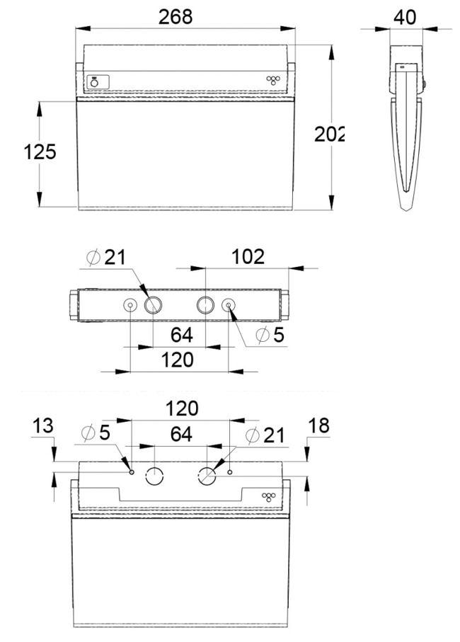 Монтажные размеры аварийного эвакуационного светильника ESC-90