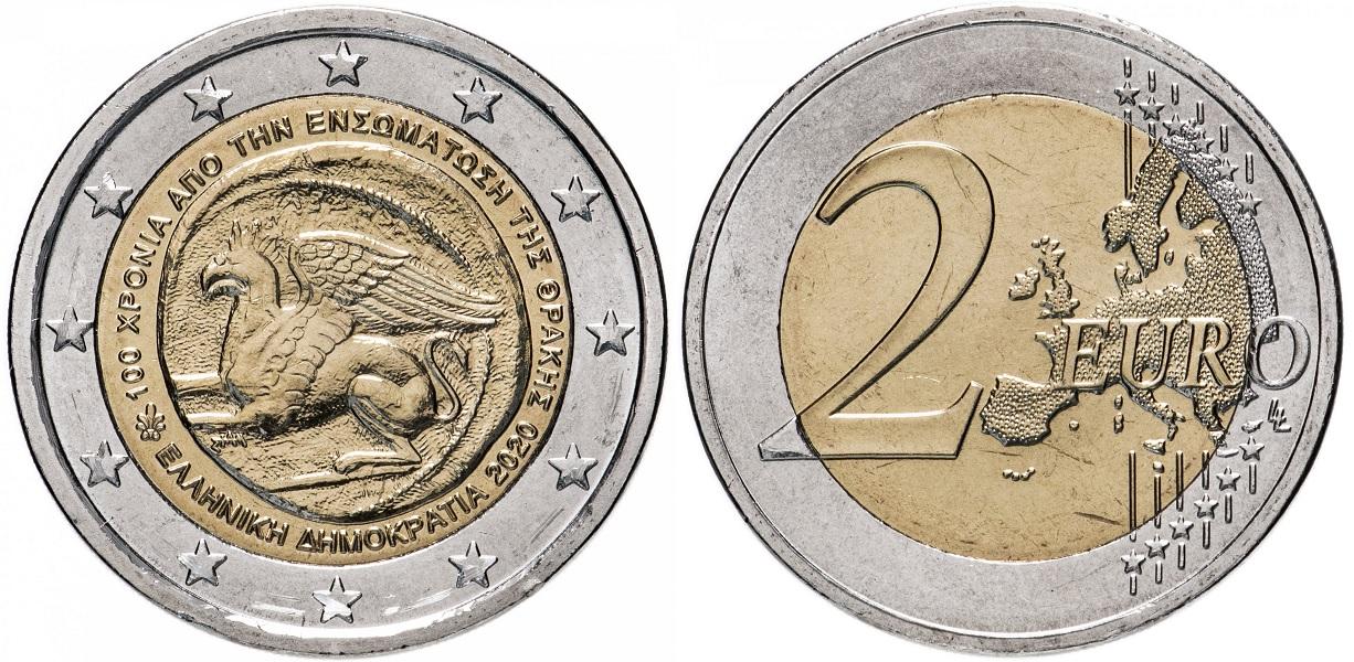 2 евро Греции 2020