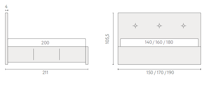 размеры кровати Аскона Изабелла