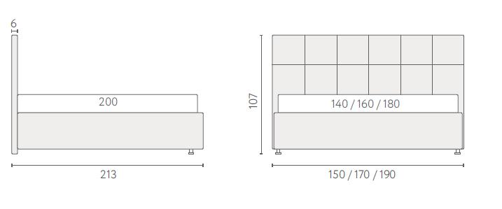 размеры кровати аскона грета