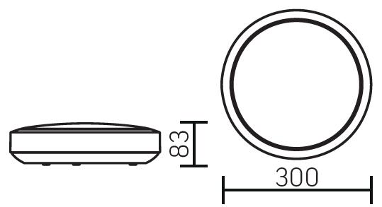 Размеры круглого светодиодного светильника аварийного освещения серии NERO EM IP65
