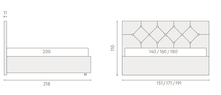 размеры кровати Аскона Марлена