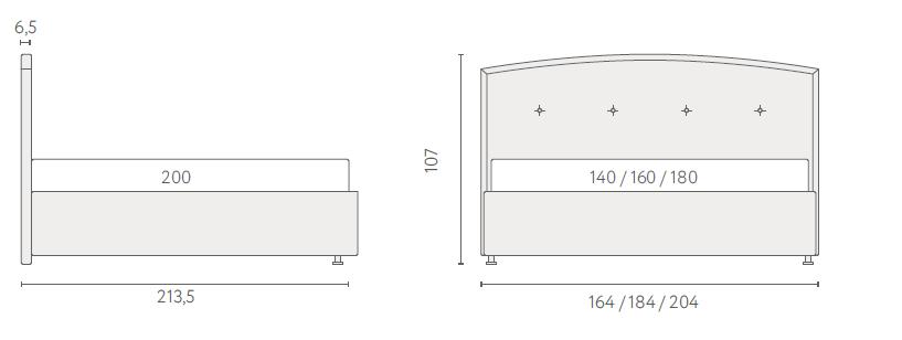 размеры кровати грейс
