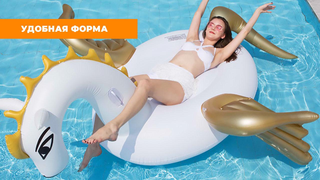 """Надувной матрас для плавания """"Бело-золотой Пегас"""" (275*140*120 см)"""