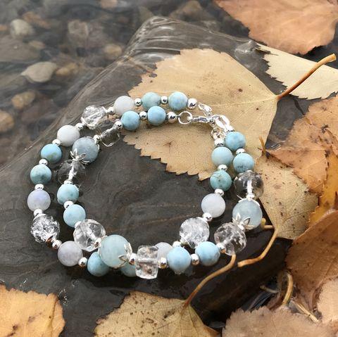 Женские браслеты из натурального Аквамарина