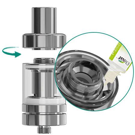 Электронную жидкость легко пополнить, просто открыв верхний колпачок атомайзера MELO III Mini.