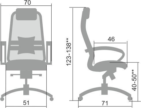Размеры кресла Samurai SL-1.04
